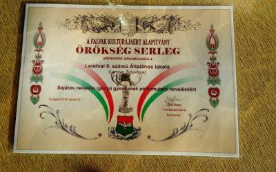 Örökség serleget kapott iskolánk Budapesten/ Priznanje za vzorno delo z učenci s posebnimi potrebami