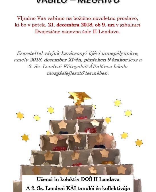 Vabilo na božično-novoletno prireditev/ Meghívó karácsonyi-újévi ünnepélyre